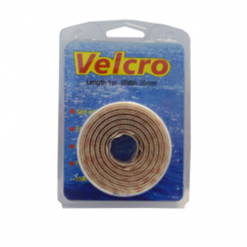 1m X 20mm - White Hook & Loop Fastening tape